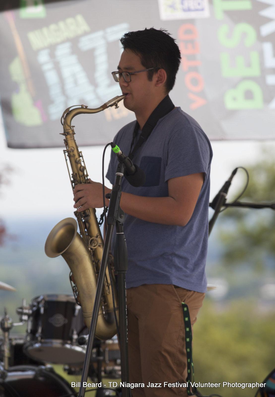 JAZZ on the RISE - Canada 150 Celebration - Megalomaniac Winery - Youth performer: Anthony Nguyen - Sunday, July 30th, 2017. Photo: Bill Beard
