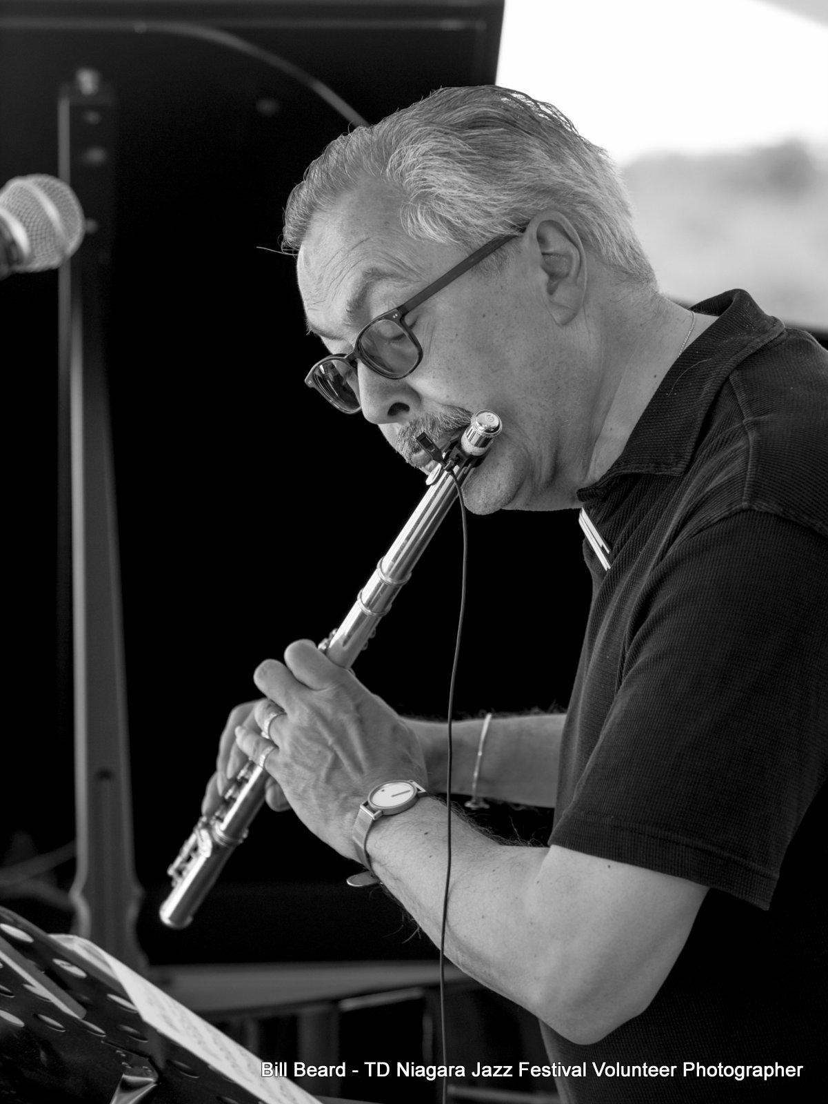 JAZZ on the RISE - Canada 150 Celebration - Megalomaniac Winery - Bill McBirnie (Flute) Sunday, July 30th, 2017. Photo: Bill Beard