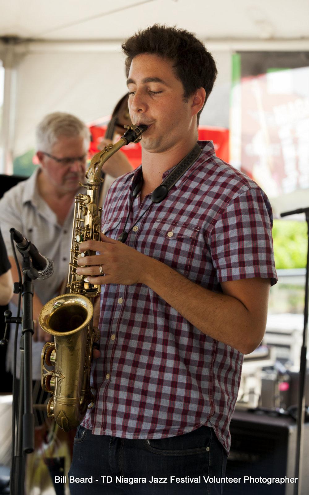 JAZZ on the RISE - Canada 150 Celebration - Megalomaniac Winery - Tribute to Moe Koffman featuring Jake Koffman (Saxophone) Sunday, July 30th, 2017. Photo: Bill Beard