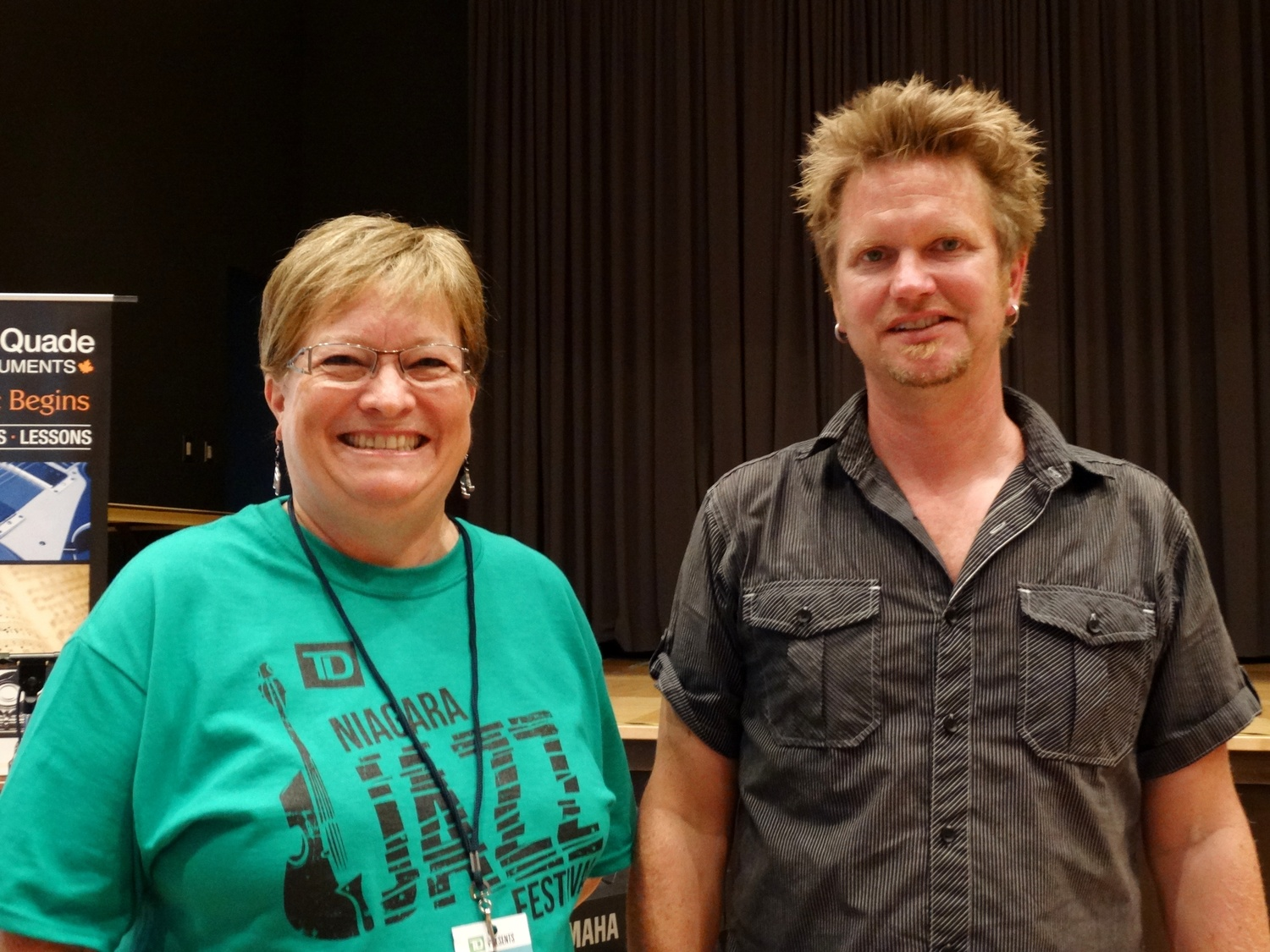 Helping out at the Vocal jazz workshop with Broadsway - July 25, 2015 Niagara-on-the-Lake Public Library: Volunteer Deborah Levere & Festival co-creator/Artistic Consulant: Peter Shea. Photo: Snapd