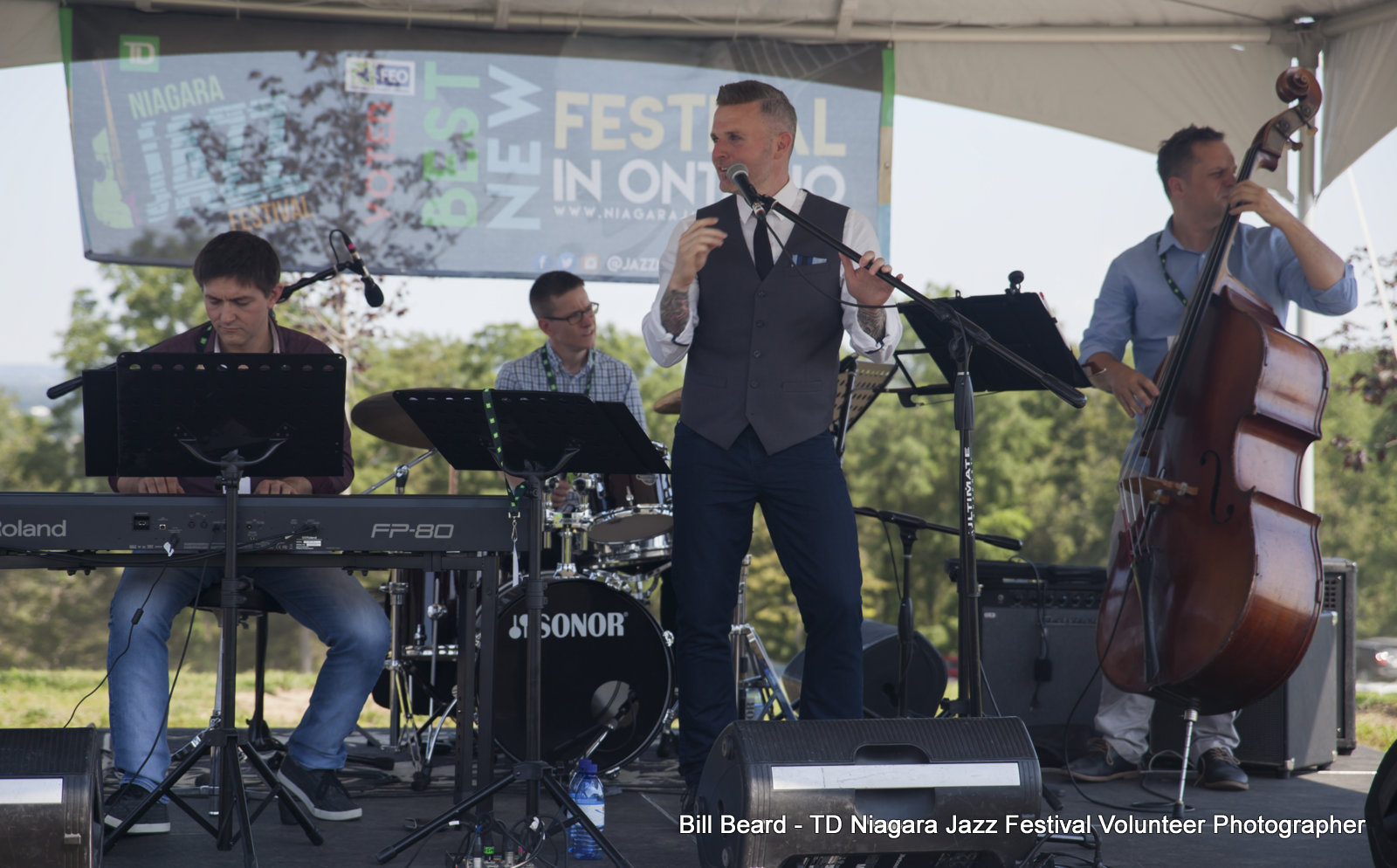 JAZZ on the RISE - Canada 150 Celebration - Megalomaniac Winery - Stu Mac Quartet (Vocals) Sunday, July 30th, 2017. Photo: Bill Beard
