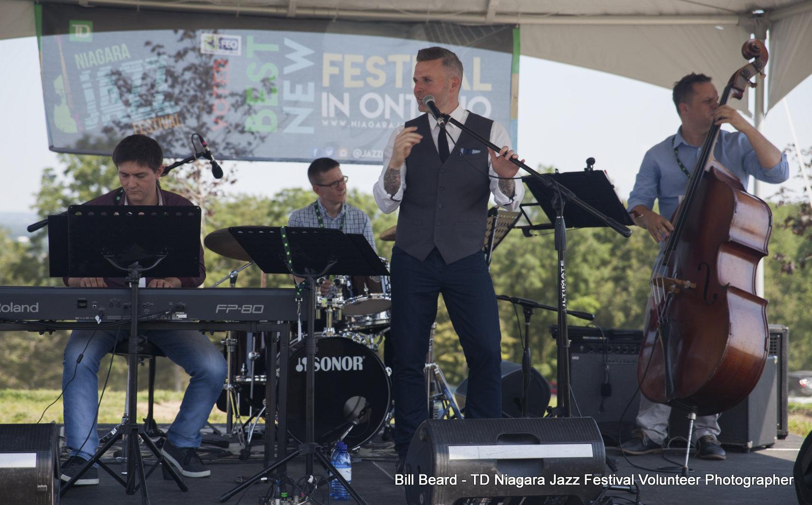 JAZZ on the RISE - Canada 150 Celebration - Megalomaniac Winery - Stu Mac Quartet (Vocals) Sunday, July 30th, 2017. Photo: Bill Beard