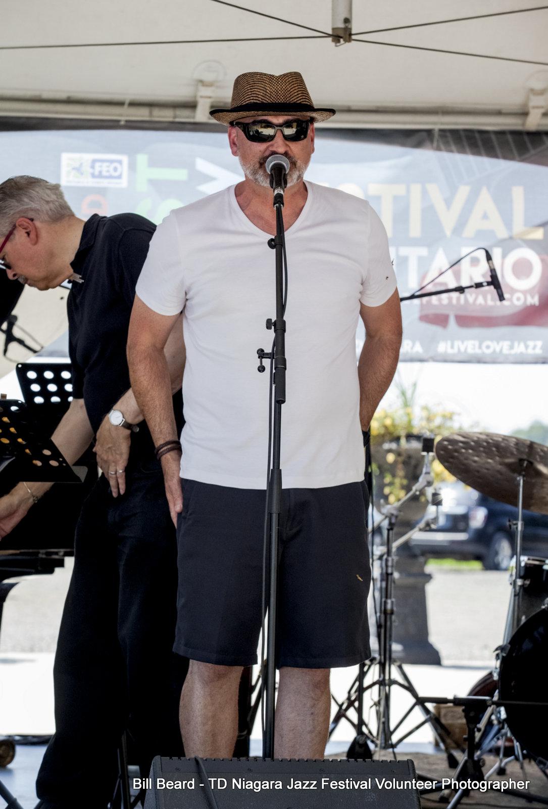 Jazz.FM 91.1 Emcee Walter Venafro at JAZZ on the RISE - Canada 150 Celebration - Megalomaniac Winery - Sunday, July 30th, 2017. Photo: Bill Beard